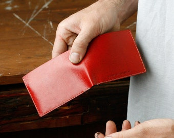 Kangaroo Leather Slim Wallet, Australian, Red, Hand Stitched, Billfold Wallet, Leather Wallet, Personalised, Personalized, Card Holder