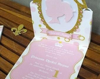 Princess  Birthday Invitation , Royal party invitation, baby girl invitation,Gold and pink invitation /// Handmade