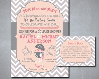 Couples Baby Shower Invitation with matching Book Request Insert/DIGITAL FILES/printable/wording and colors can be changed