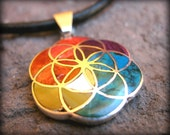 Flower of life sacred silver jewelry from peru spiritual necklace with chakra colors colorful stones ethnic shamanic inca style jewellery