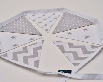Bunting Garland Fabric Flags Pennants : Grey, White