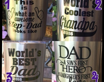World's best dad, father, grandpa, papa, pops, step-dad, personalized vinyl decal
