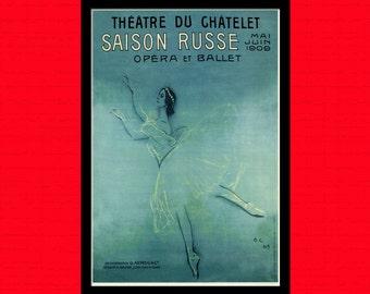 Ballerina Anna Pavlova 1909 - Ballet Decor Anna Pavlova Poster Ballet Poster Art Poster Art Wall Decor t