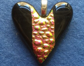 HP 001  Black -Raspberry - Gold Dichroic Heart Pendant.  Freehand carved, Fused Glass, Multi Colored, Glass Pendant, Dichroic Pendant, Cross
