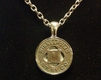 """Handcrafted Vintage Minneapolis Transit Token Pendant Necklace 24"""" Chain"""