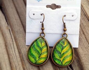 Leaf earrings. Hand painted green leaves in watercolor, set under glass. Wearable art jewelry,  OOAK