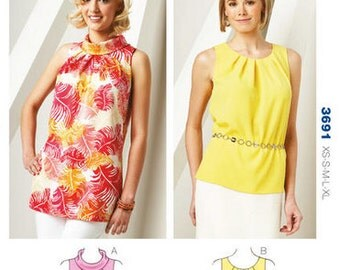 Kwik Sew sewing pattern K3691 Tuck-Neck Tunic and Top, Misses, Womens, Teen Girls - new and uncut