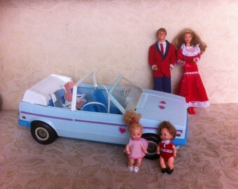 Vintage barbie heart family convertible with