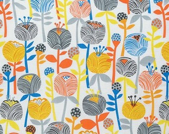 Bright Woodland Flower Fabric - Noe by Erin McMorris for Free Spirit - Bela Ochre - Fabric By the Half Yard