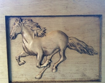 Wood Carved Horse on Pine
