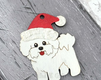 Bichon Frise - Christmas tree hanging decoration Painted