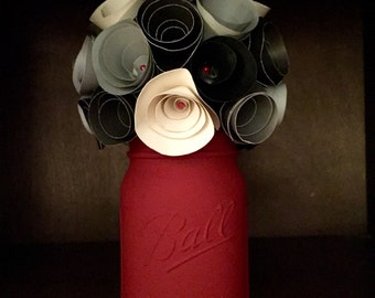 "Lets make a statement"" Rustic shades of grey paper flower bouquet! Hand painted Mason Jar."