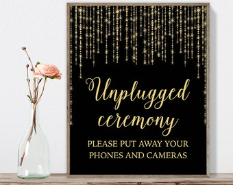 Unplugged Ceremony Sign DIY / Gold Wedding Sign / Great Gatsby, Bokeh String Light / Black and Gold Calligraphy ▷ Instant Download JPEG