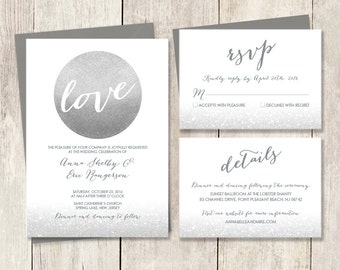 Silver Wedding Invitation Suite  / Glitter Circle Metallic Silver and Gray / Steel Gray ▷ Printed Wedding Invitations {or} Printable