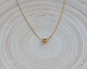 Gold Ball Necklace, Single Gold Ball Necklace, Tiny Gold Ball Necklace, Small Gold Ball Necklace
