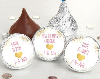 216  Wedding Kiss® Stickers - Hershey Kiss Stickers Bridal Shower - Personalized Hershey Kiss Labels - Kiss the Miss Goodbye - Wedding Decor