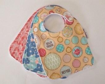 Hello Friend / Tapestry / Bib / Bandana Bib / Herringbone / Floral / Flowers / Soft / Absorbent / Baby Bib / Large Bib / Newborn / Toddler