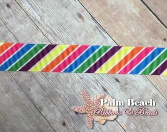 """1/3/5 yd cut of 7/8"""" Rainbow Diagonal Stripe Ribbon"""