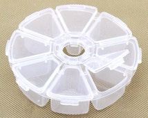 Beads/Charms Storage Containers, White Plastic 8 Compartments Round Storage, Jewelry Supplies.