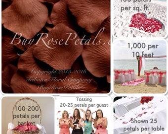 500 Chocolate Rose Petals - Artificial Rose Petals for Weddings, Petal Tossing & Rose Petal Aisle Decor