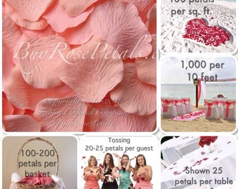 500 Apricot Rose Petals - Artificial Rose Petals for Weddings, Petal Toss, Flowergirls