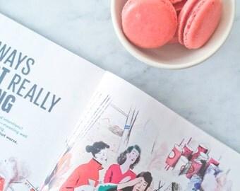 12 Pink Strawberry French Macaron Cookies - 1 dozen