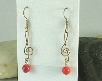 Coral Treble Clef Bronze Earrings - Music Lovers