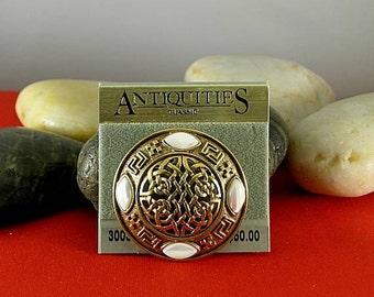 Antiquities MOP Round Celtic Knotwork Brooch - Elizabethan Renaissance
