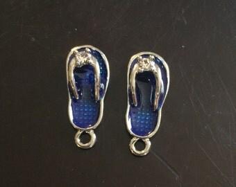 2PC Blue Flip Flop Charms-Blue Enamel/Antique Silver Tone Flip Flop Charms-Summer Charms-Beach Charms
