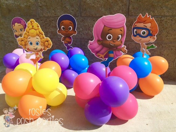 Bubble guppies centerpiece wood handcrafted with balloons for - Bubble guppies center pieces ...