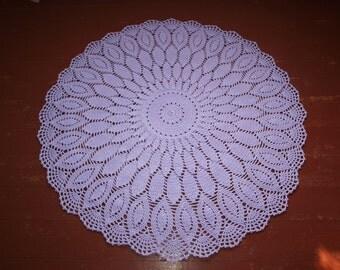Crochet lace rug 38 inches Crochet round carpet Doily rug Violet decor Lilac nursery decor