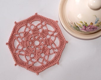 Lace coasters Crochet coasters Little doily Small doily Crochet doily Pink coasters Tea napkin Vintage style coasters Cozy home decor