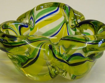 Vintage Glassware - Vintage 1960s Heavy Blue Yellow Green Glass Art Glass Vase