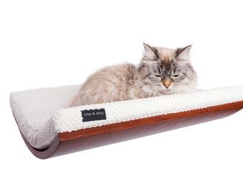 curved cat bed, cat shelf, SOFT WHITE cushion, pet accessories, wood shelf, walnut,wedge, cat bed, modern cat,cat perch, wall shelf