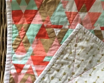 Whole Cloth Baby Quilt/Gold Metallic/Arrows/Girl/Modern/Triangles