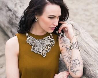 ELENA - Bohemian necklace - Laser cut leather - Statement jewelry - Gypsy style - Fashion accessory - Leather jewelry - Wearable art