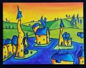 "Original Oil Painting, Art Landscape Original Oil Painting, Expressionism, Original Abstract Painting Canvas 18""x14"" Impressionist Art"