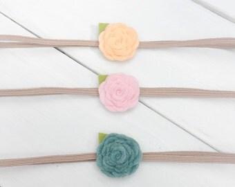 Pink Felt Flower Headband, Baby Headband Set, Peach Flower Headband, Flower Headband, Blue Felt Flower, Newborn headband, Infant Headband