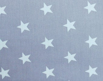 Rose and Hubble White Stars on Grey Cotton Poplin Fabric, Star Fabric,Star Print Fabric,Grey Star Fabric