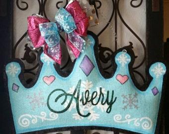 Frozen Themed Princess Crown Burlap Door Hanger Decoration