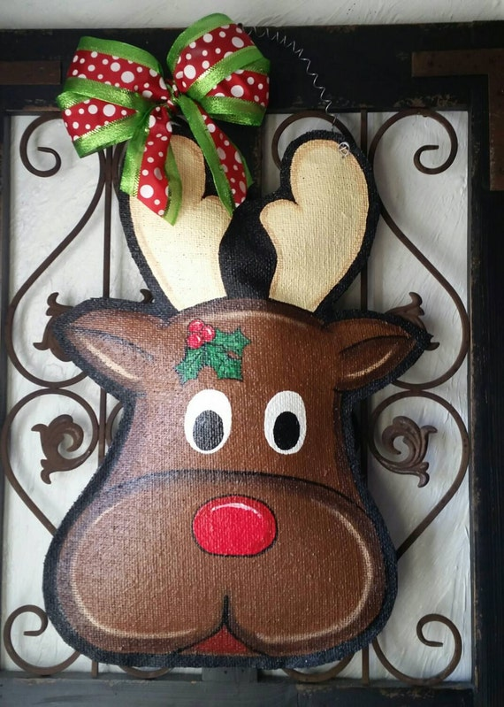 Rudolph The Reindeer Christmas Burlap Door Hanger Holiday