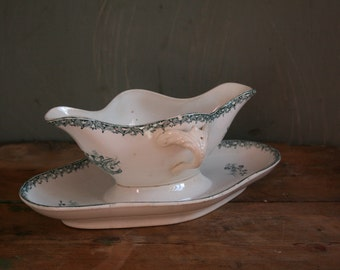 Antique French Sauce/Gravy Boat. St Amandinoise Ironstone Muguet/Lilly of the valley Green Pattern. French Transferware. Terre De Fer