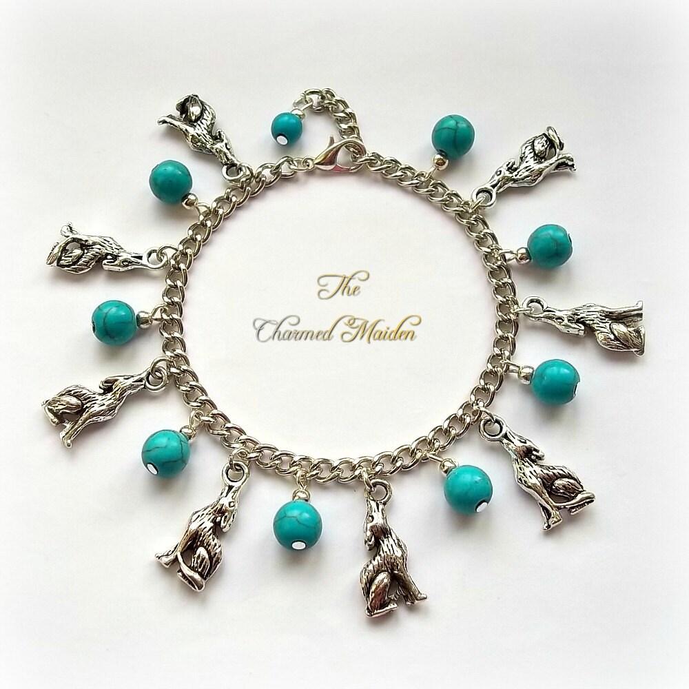 Wolf Charm Bracelet Turquoise Bracelet Gemstone Bracelet