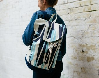 Rucksack Navy / Light Blue Graphic Compass Print with Waxed Cotton Base & internal zip pocket