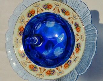 """Glass Flowers, Repurposed, Garden Sculpture, Glass Plate Flower, Garden Art, Glass Garden Flowers, Plate Flowers, """"Pinnacle"""" (2-010114)"""
