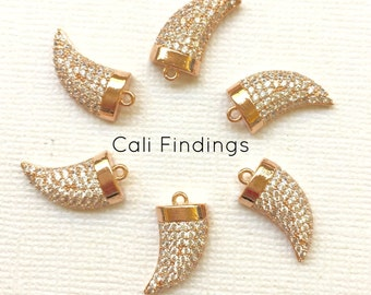 18K Rose Gold Plated Cubic Zirconia Micro Pave Horn Pendant, Pave Horn, Horn Charm, Rose Gold Horn, Cz Pave Horn, Connector, Cz Horn [1168]
