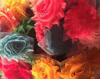 "Lot of 25 Assorted Shabby Flowers, 2.5"" Shabby Flowers, Assortment"