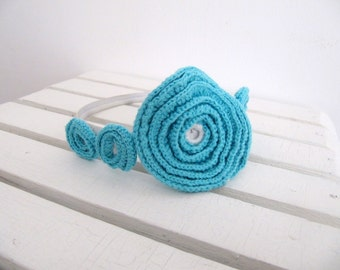 Blue Crochet Flower Appliques Crochet Roses 4 PCS Different Sizes Crochet Motif Crochet Embelishments