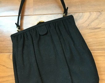 CLEARANCE Vintage Black Wool Ingber Purse Handbag Pocketbook with Beautiful Golden Clasp