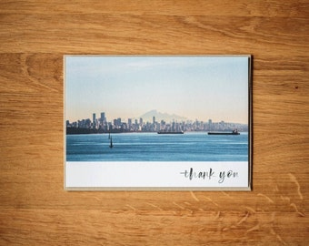 """Vancouver Skyline -  5""""x7"""" Thank you card"""